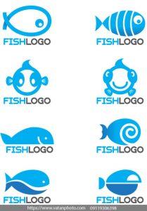 مجموعه وکتور لوگو ماهی آبی
