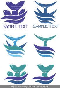 مجموعه وکتور لوگو ماهی دریایی