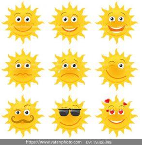 مجموعه وکتور آیکن گوناگون خورشید کارتونی