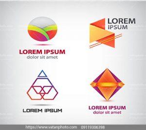 مجموعه وکتور 4 لوگو طراحی هندسی