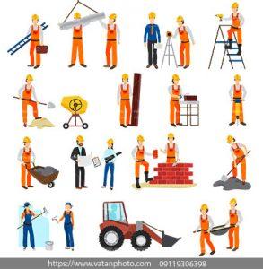 مجموعه وکتور افراد ساختمان ساز