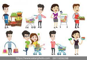 مجموعه وکتور خرید و فروش میوه