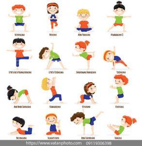 مجموعه وکتور حرکات ورزشی کودکان