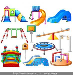 مجموعه وکتور وسایل رنگارنگ پارک کودک