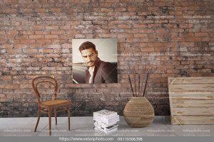 موکاپ یک قاب عکس دیوار آجری