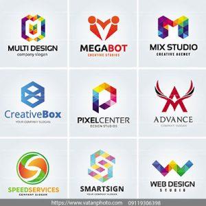 مجموعه وکتور لوگوهای رنگی