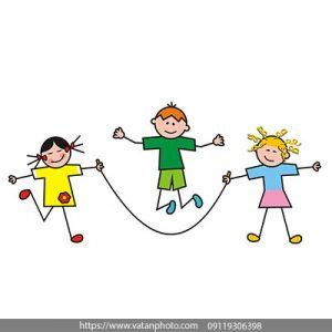 وکتور فلت طناب بازی کودکان