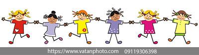 وکتور کودکانه دست در دست