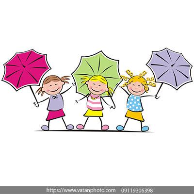 وکتور دختر بچه و چتر