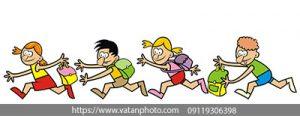 وکتور فلت دویدن بچه ها به دنبال هم