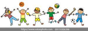 وکتور کودکان در حال توپ بازی