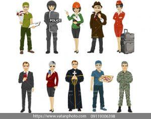 وکتور انواع شغل های مردانه و زنانه